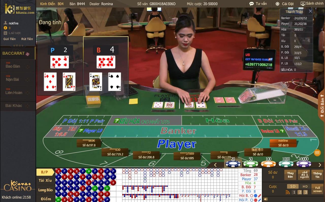Luật rút bài khi chơi Baccarat tại casino