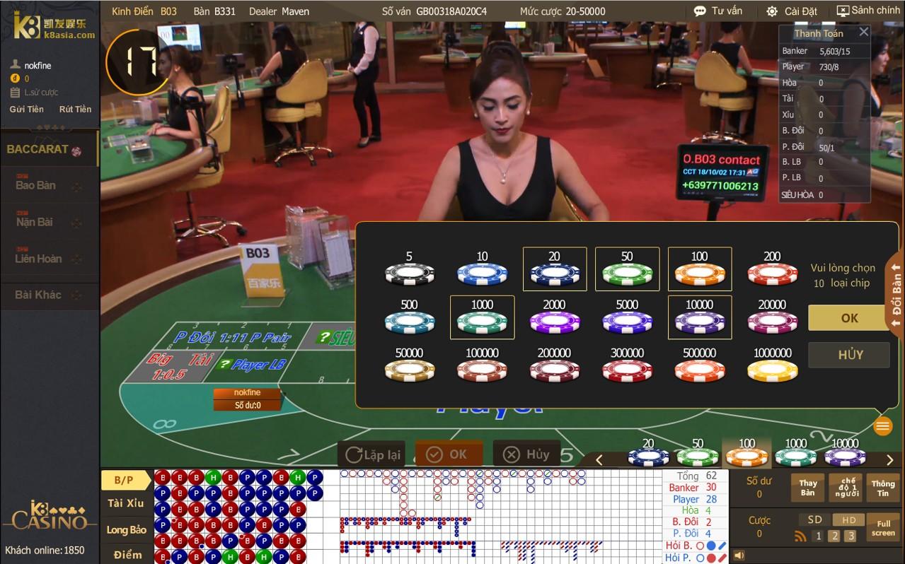 Chọn chip đặt cược Baccarat tại K8 Casino