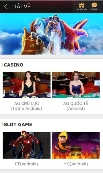 Tải casino online K8 về cho điện thoại