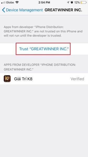 Trust app khi cài game ngoài kho ứng dụng