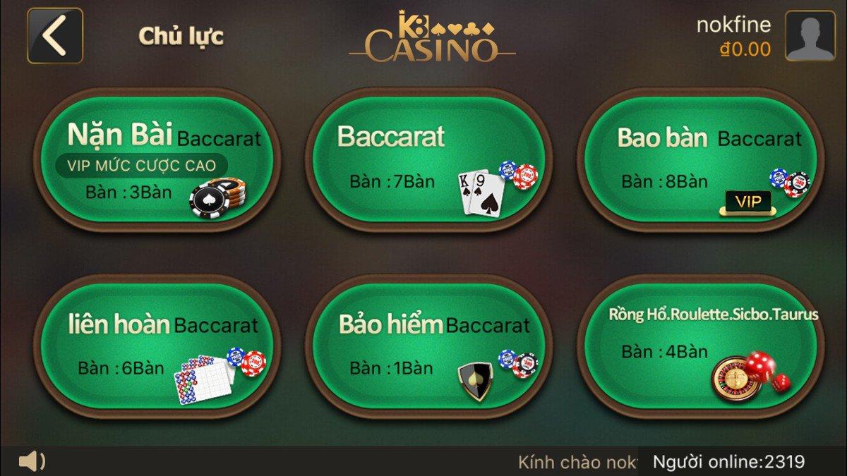 Bàn chơi tại casino online K8 mobile