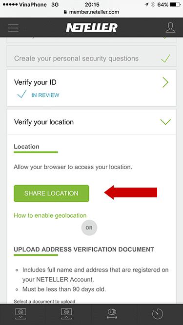 Xác thực vị trí Neteller trên ứng dụng