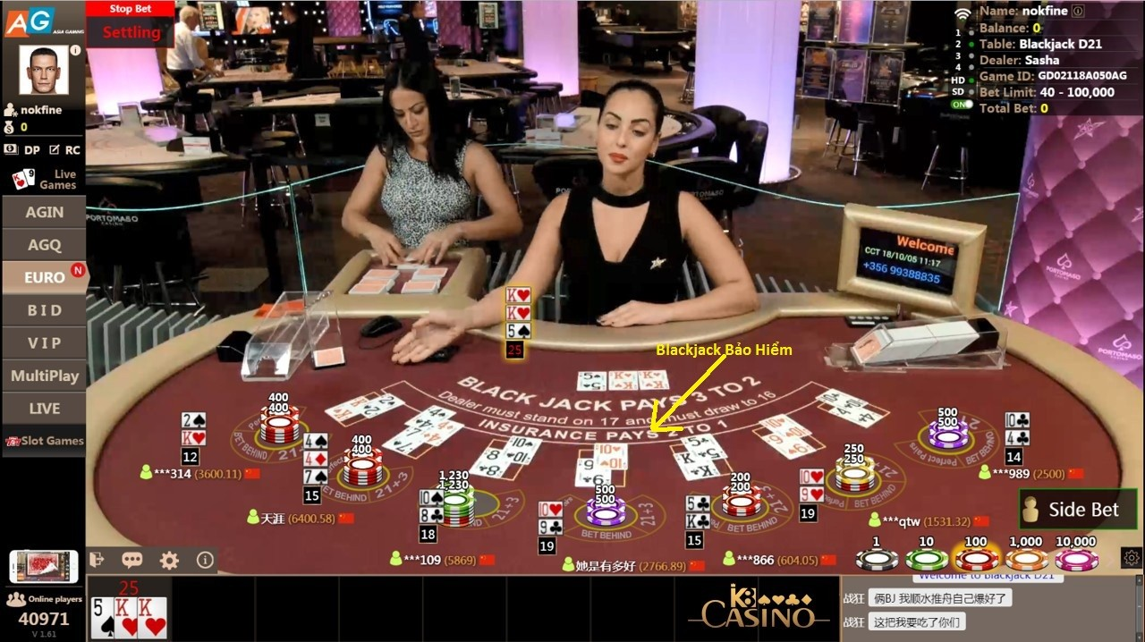 blackjack bảo hiểm
