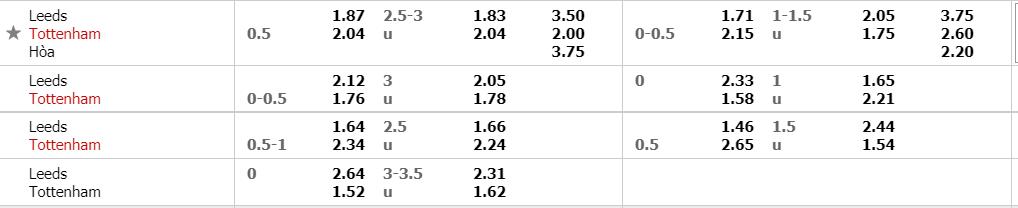 Tỷ lệ kèo Leeds vs Tottenham